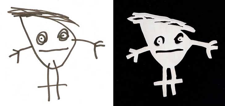 un niño con solo cabeza, pies y manos