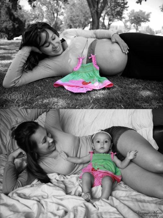 Embarazada con vestido de colores en el vientre