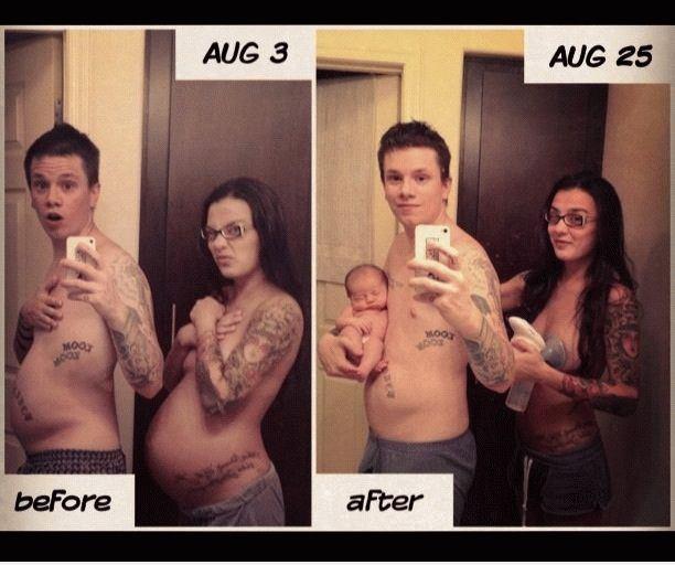 pareja embarazada antes y despues
