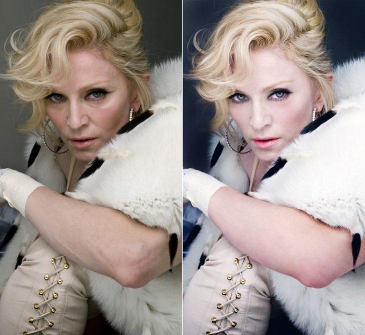 Madonna con abrigo blanco