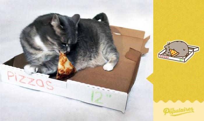 tragando pizza de la caja