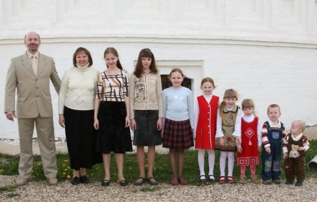 Fotografía de familia por orden de estaturas