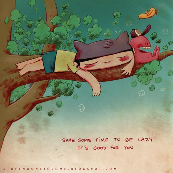 Dibujo de niño acostado arriba de un árbol. Ilustración de Alex Noriega