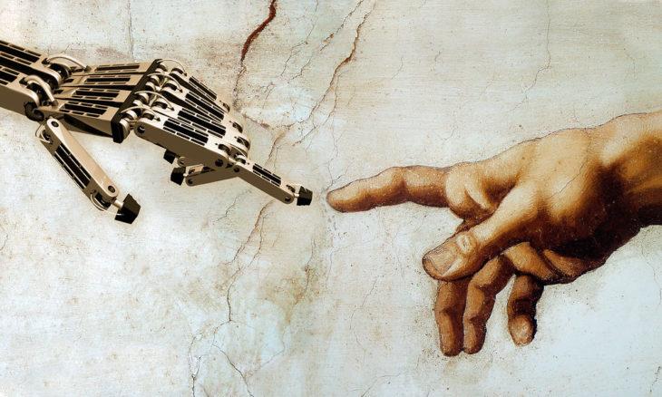 Pintura de Miguel Angel pero enfocada a la tecnología con mano de robot