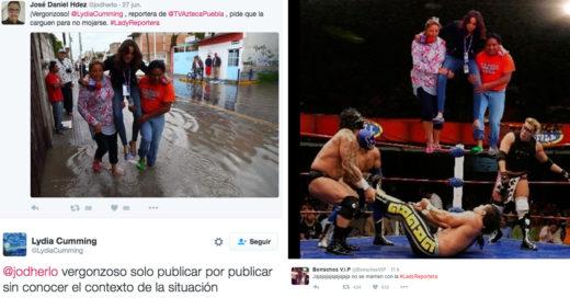 #LadyReportera de Tv Azteca pidió que la cargarán para no mojarse sus pies y Twitter la Trolleó