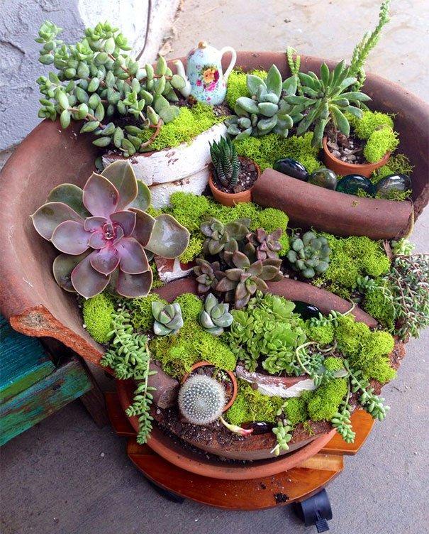 jardn miniatura de maceta rota 8 - Jardines En Miniatura