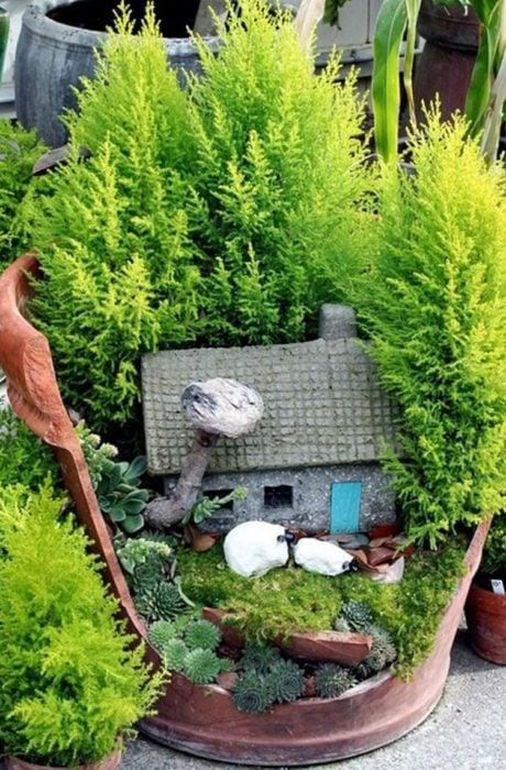 jardín miniatura de maceta rota 16