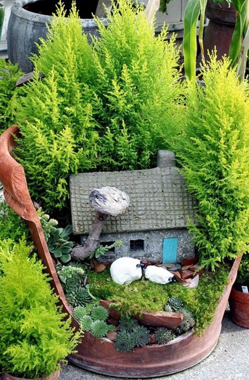 jardin miniatura JARDINES MINIATURA Hechos De Macetas Rotas Vas A Querer Uno