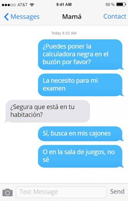 Conversación con mamá buscando algo