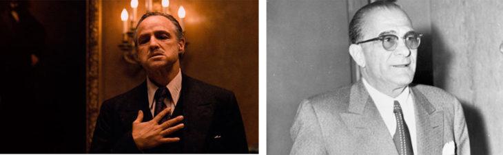 Vito Corleone y el actor que lo personifica