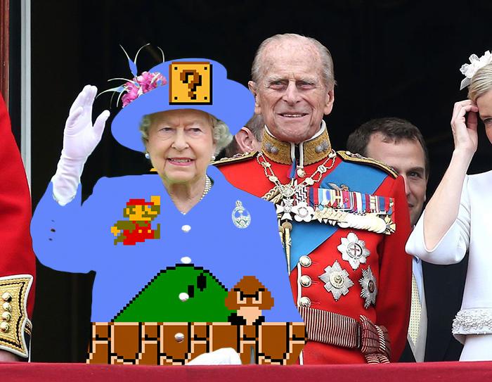 Batalla Photoshop: Reina Isabel II con un vestido de Mario Bros