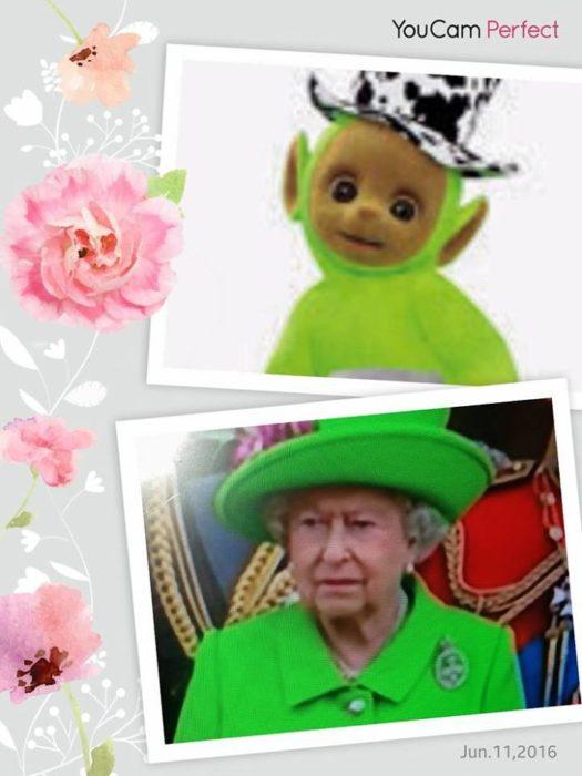 Batalla Photoshop: Reina Isabel II comparada con un mono de Teletubies