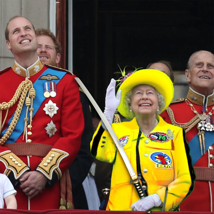 Batalla Photoshop: Reina Isabel II con un vestido de Kill Bill
