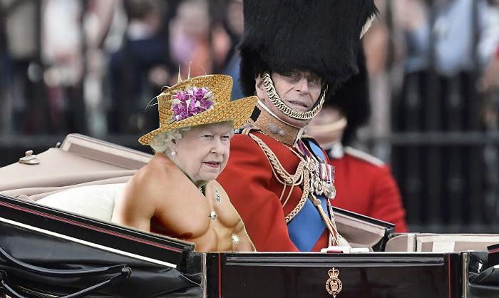 Batalla Photoshop: Reina Isabel II sin vestido con cuerpo de hombre