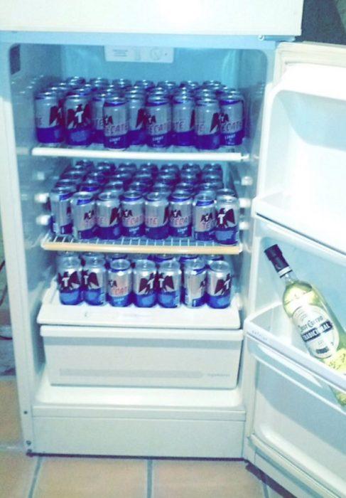 Situaciones estudihambre. Refrigerador lleno de cervezas y una botella