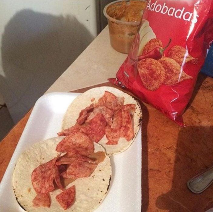 Situaciones estudihambre. Tacos de papas adobadas