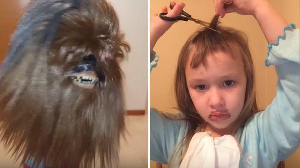 Niña cortándose cabello en Chewbacca