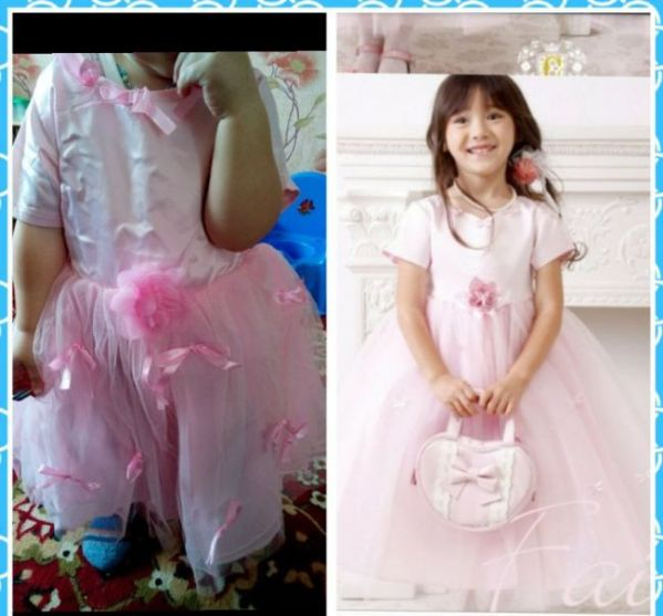 Vestido rosa para nimña que termino siendo un fiasco en internet