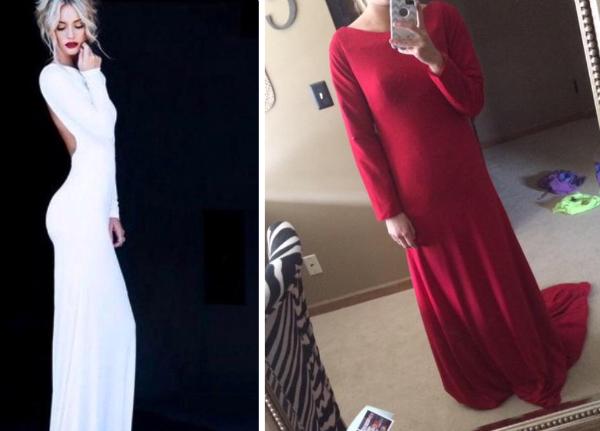vestido que parece una gran cortina roja