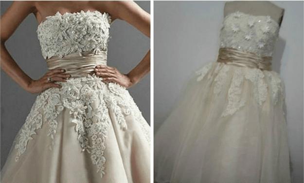 vestido de novia mal elaborada