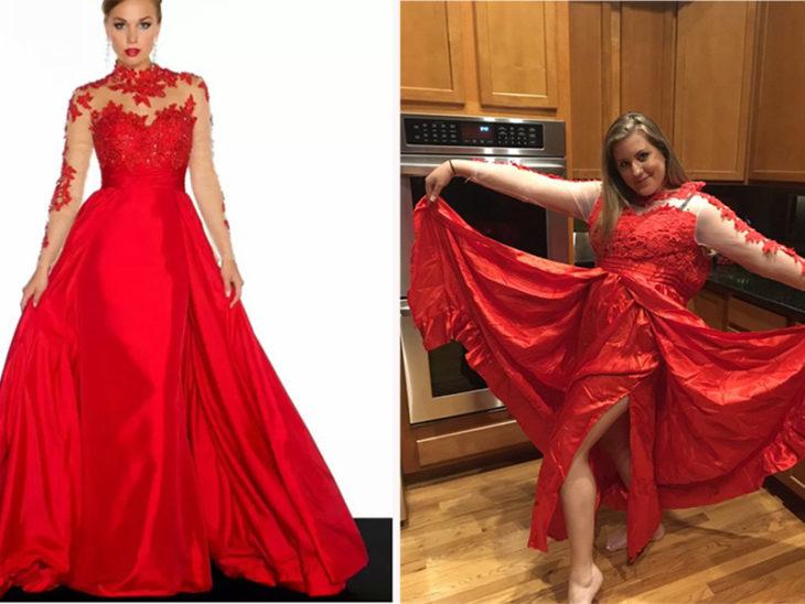 mujer presumiendo su vestido comprado en líneas