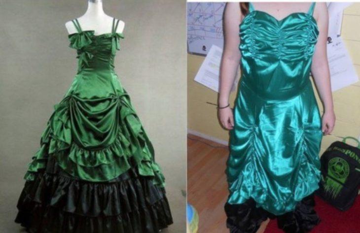 Vestido verde mal cortado o simplemente mal elaborado desde un principio