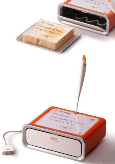 Tostador de pan en donde puedes escribir mensajes para que aparezcan en el pan