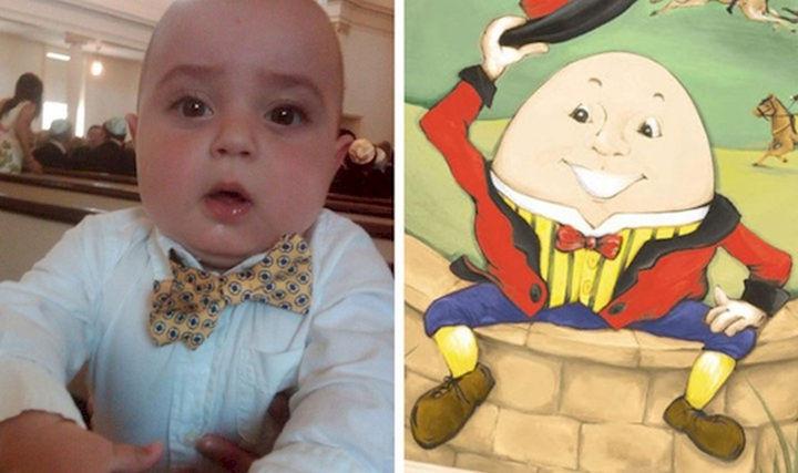 Comparación de bebé con Humpty Dumpty