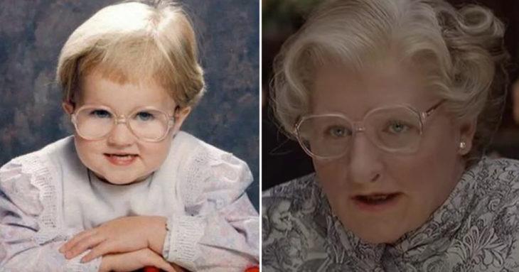 Comparación de niña bebé y abuela