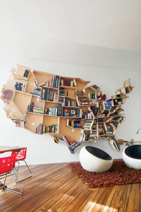 librero en forma de américa del norte