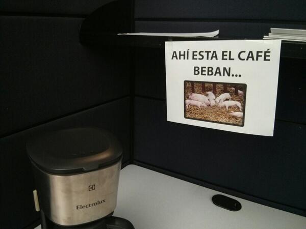 nota agresiva de cafetería