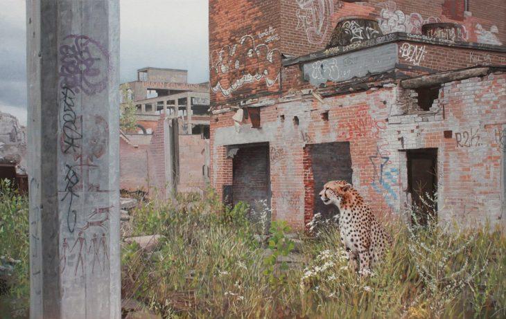pintura hiperrealista niña y animal en la ciudad