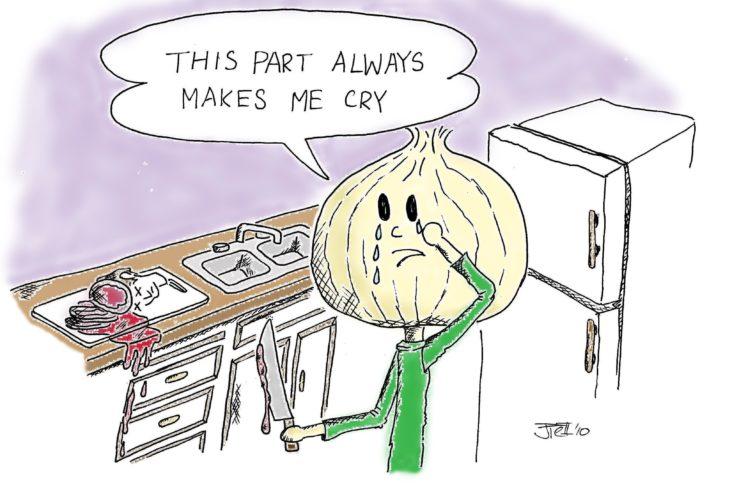 caricatura de cebolla cortando la cabeza de un hombre