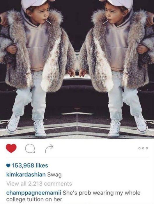 comentario en una foto del instagram de Kim Kardashian