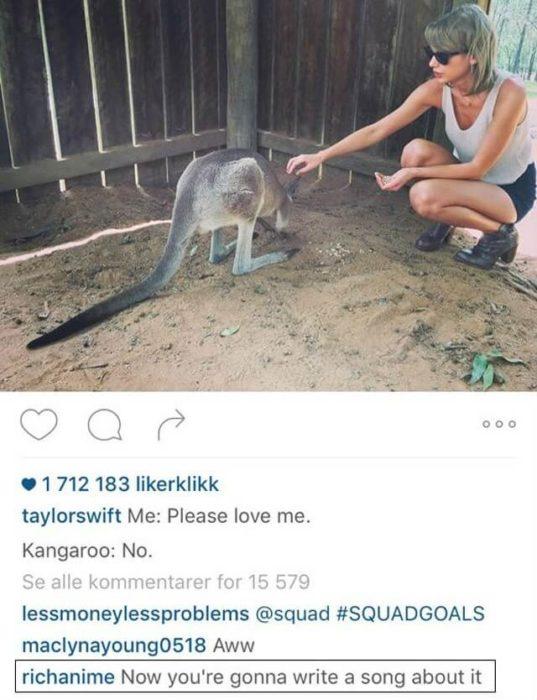 Comentario a Taylor Switf en Instagram