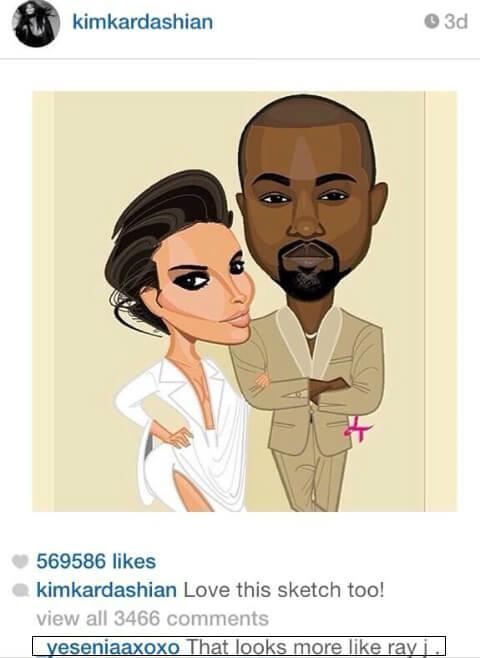 Comentario a Kim K en Instagram