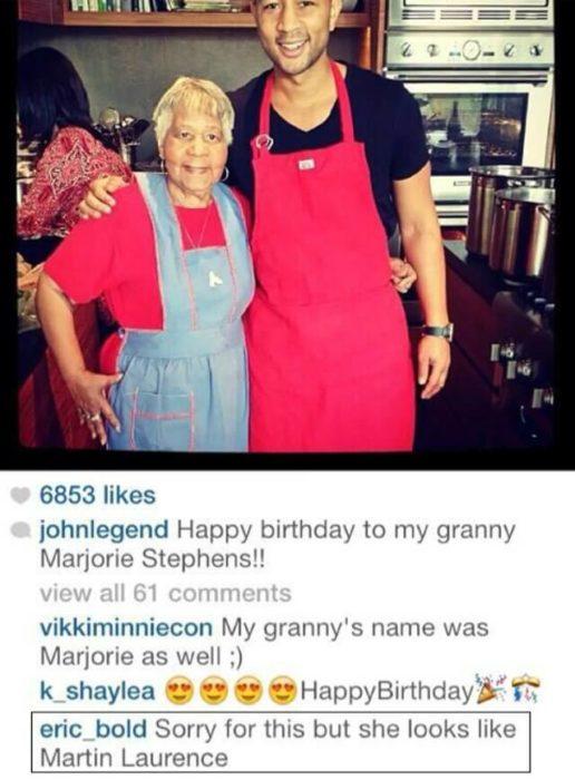 Comentario en instagram a la abuela de John Legend