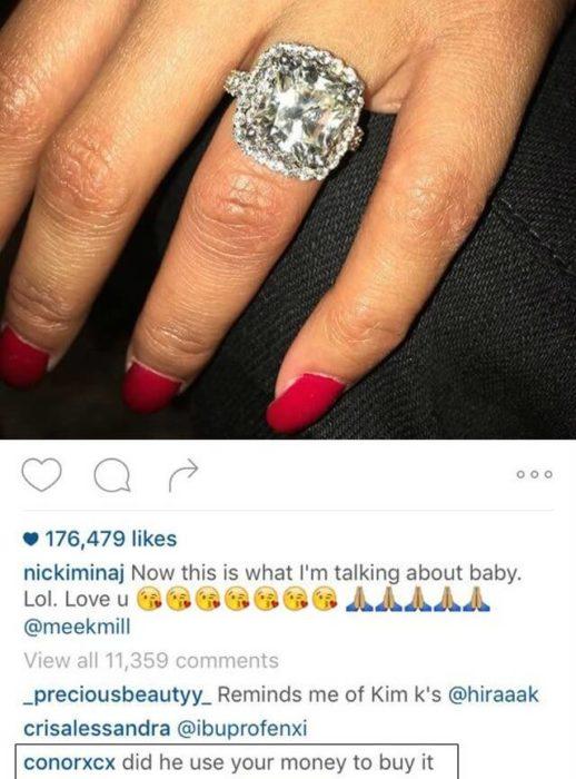 Comentario en el instagram de Nicky Minaj
