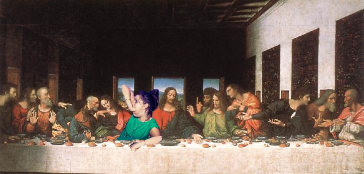 Photoshop de la chica con la mano metida en la boca, última cena