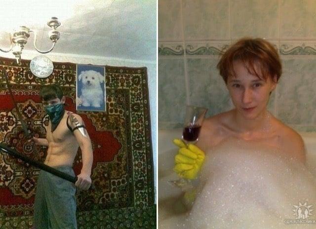 Chico con guante amarillo en la bañera con espuma y una copa de vino tinto