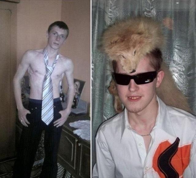 Muchacho con corbata grande sin camisa