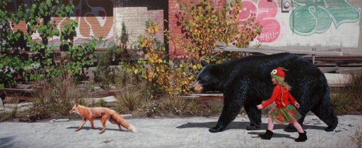 Pintura hiperrealista niña y oso