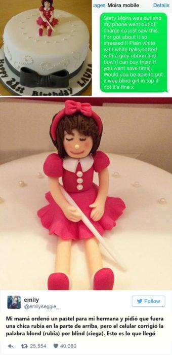 Un pastel con una muñeca ciega en la parte de arriba