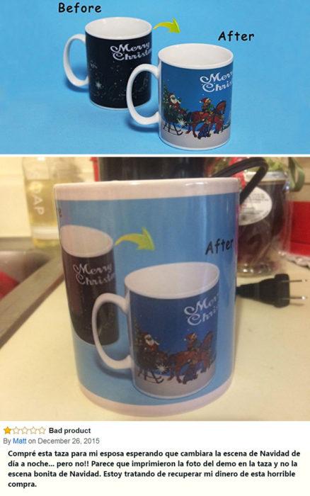 Una taza con una impresión de una imagen de dos tazas en la foto