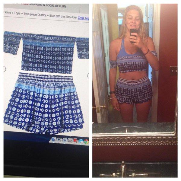 De un lado un atuendo azul del top y la falda, del otro lado una mujer usándolo y le queda extremadamente chico
