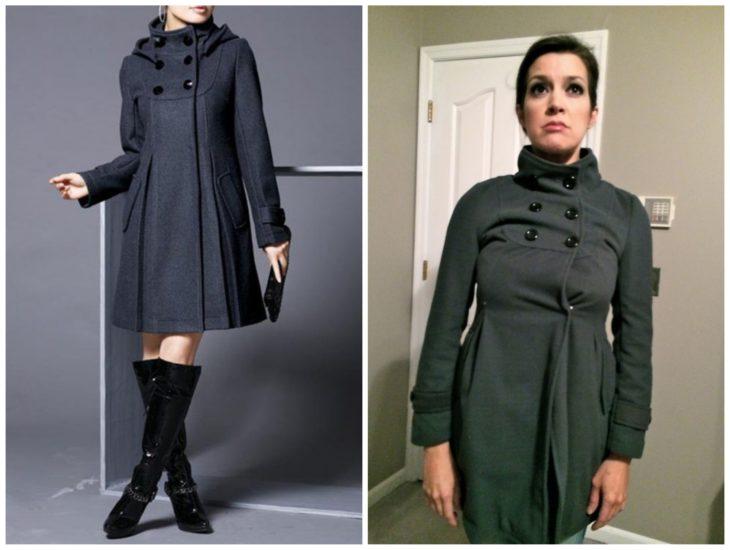 De un lado una mujer en un catálogo usando un abrigo gris, del otro lado una mujer con el mismo modelo de abrigo pero éste no le queda