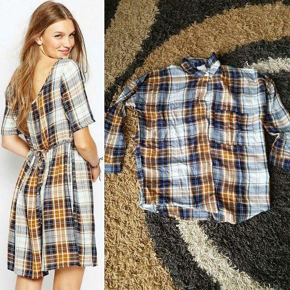 De un lado una modelo con un vestido, del otro lado una camisa del mismo patrón que el vestido