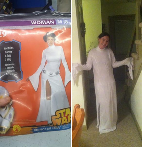 De un lado un disfraz sexy de la princesa Leia y del otro lado una mujer usando lo qu eparece ser una sábana blanca