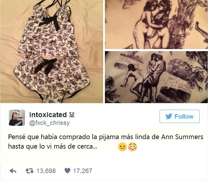 Una pijama sexy con figuras eróticas como patrón en la tela