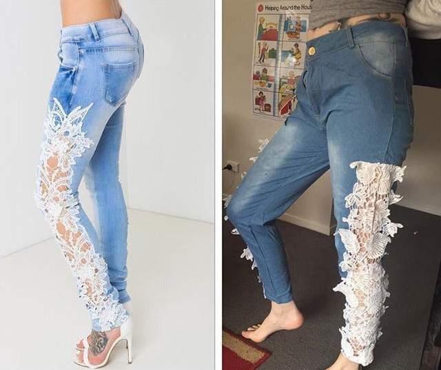 De un lado un pantalón de mezclilla ajustado con el tiro bajo y en un costado de las piernas encaje que se ve sexy, del otro lado un pantalón con una tela horrible el tiro demasiado alto y el encaje sobrepuesto